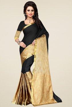 Nirja Creation Black & Gold Cotton Silk Saree