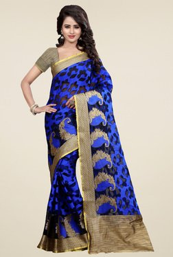 Nirja Creation Blue Cotton Silk Saree With Blouse