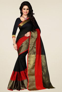 Nirja Creation Black & Red Cotton Silk Saree With Blouse