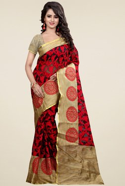 Nirja Creation Red Cotton Silk Saree