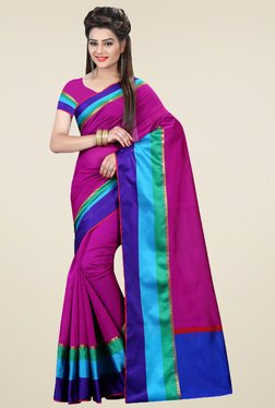 Nirja Creation Pink & Blue Cotton Silk Saree With Blouse