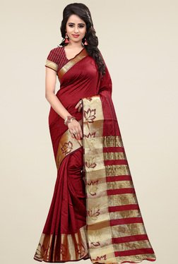 Nirja Creation Maroon Cotton Silk Saree