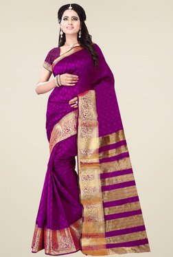 Nirja Creation Magenta Cotton Silk Zari Saree With Blouse