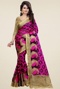 Nirja Creation Pink Cotton Silk Paisley Saree