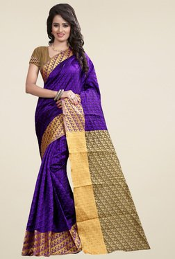 Nirja Creation Violet Cotton Silk Zari Saree With Blouse
