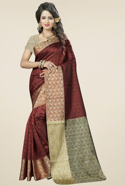 Nirja Creation Brown Cotton Silk Saree