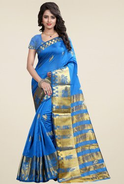 Nirja Creation Blue Cotton Silk Zari Saree