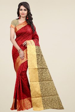 Nirja Creation Red Cotton Silk Zari Saree With Blouse