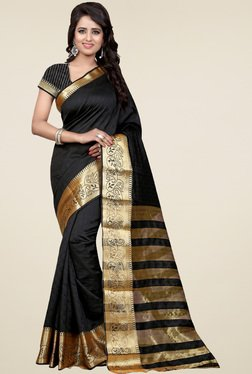 Nirja Creation Black Cotton Silk Zari Saree With Blouse
