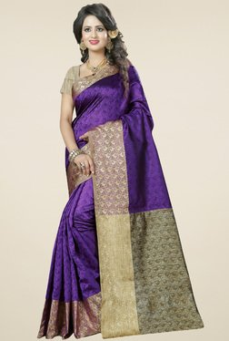 Nirja Creation Violet Cotton Silk Saree With Blouse
