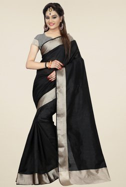 Nirja Creation Black Cotton Silk Saree