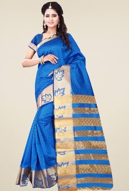 Nirja Creation Turquoise Cotton Silk Saree