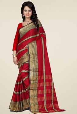 Nirja Creation Red Cotton Silk Saree With Blouse
