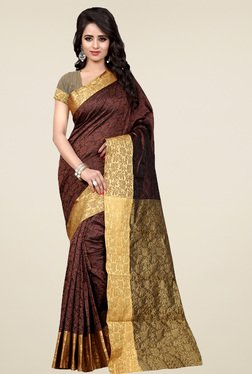 Nirja Creation Brown Cotton Silk Saree With Blouse