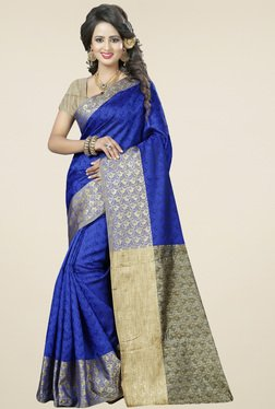 Nirja Creation Blue Cotton Silk Saree