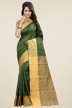 Nirja Creation Green Cotton Silk Zari Saree