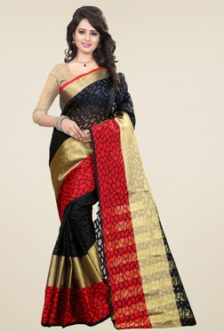 Nirja Creation Black & Red Cotton Silk Saree