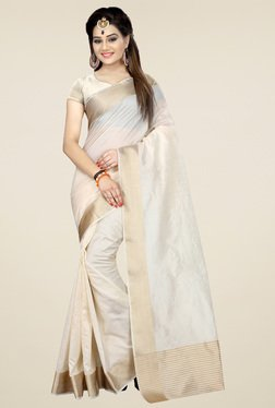 Nirja Creation White Cotton Silk Saree