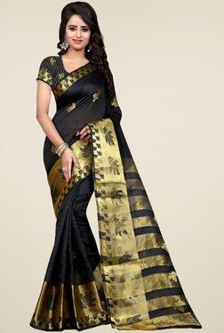 Nirja Creation Black Cotton Silk Zari Saree