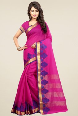 Nirja Creation Pink Cotton Silk Saree