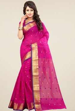 Nirja Creation Pink Cotton Silk Zari Saree