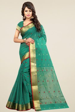 Nirja Creation Green Cotton Silk Saree With Blouse