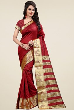 Nirja Creation Red Cotton Silk Zari Saree