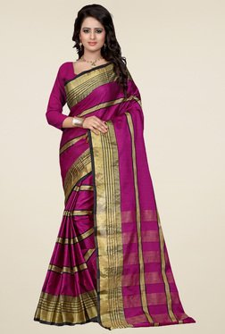 Nirja Creation Purple Cotton Silk Saree With Blouse