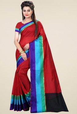 Nirja Creation Dark Red Cotton Silk Saree