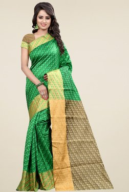 Nirja Creation Green Cotton Silk Saree