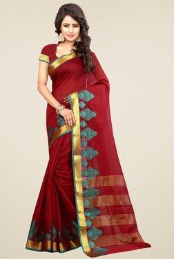 Nirja Creation Brick Red Cotton Silk Saree