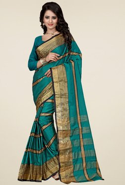 Nirja Creation Teal Cotton Silk Saree