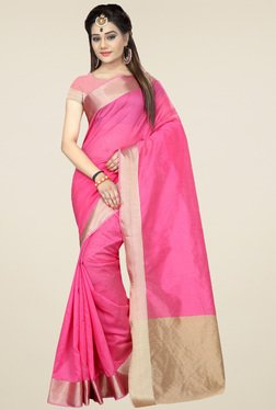 Nirja Creation Pink Cotton Silk Saree With Blouse