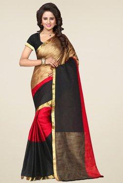 Nirja Creation Gold & Red Cotton Silk Saree