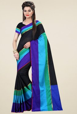 Nirja Creation Black Cotton Silk Saree With Blouse