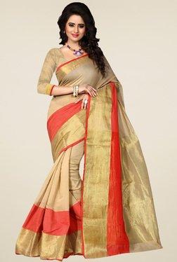 Nirja Creation Beige Cotton Silk Saree