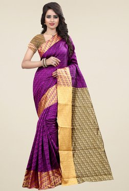 Nirja Creation Magenta Cotton Silk Zari Saree