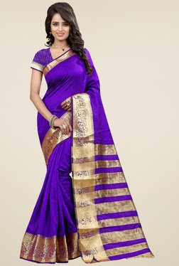 Nirja Creation Purple Cotton Silk Zari Saree With Blouse