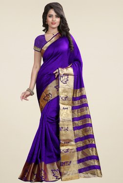 Nirja Creation Violet Cotton Silk Saree