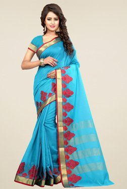 Nirja Creation Aqua Cotton Silk Saree