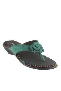 Kneetoes Green Wedge Heeled Thong Sandals