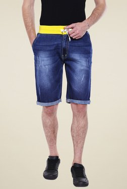 High Star Dark Blue Slim Fit Mid Rise Shorts