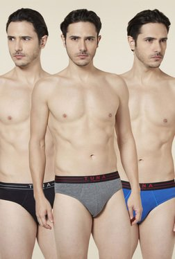 Tuna London Black Grey Blue Cotton Briefs (Pack of 3)