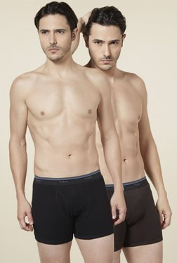 Tuna London Brown & Black Cotton Trunks (Pack Of 2)