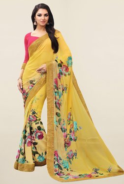 Salwar Studio Yellow Floral Print Georgette Saree