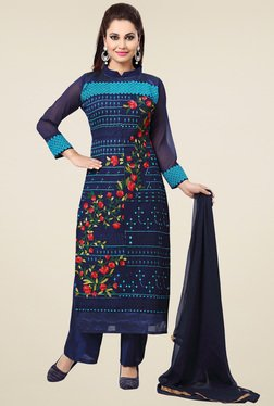 Ishin Navy & Aqua Blue Embroidered Dress Material