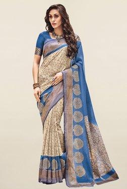 Salwar Studio Beige & Blue Printed Bhagalpuri Silk Saree