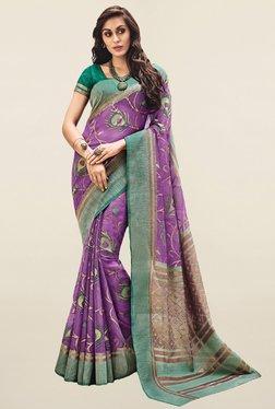 Salwar Studio Purple Printed Bhagalpuri Silk Saree
