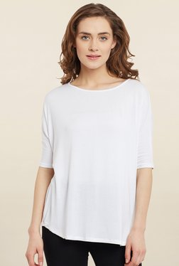 Femella White Solid T Shirt