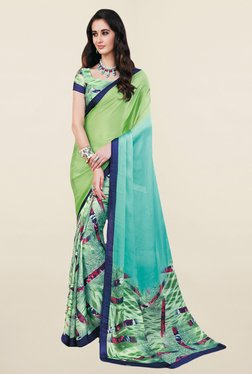 Salwar Studio Green & Turquoise Printed Satin Silk Saree